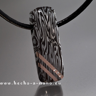 Damascus Steel Pendant F!re + Red Gold + Diamonds (click for Details)