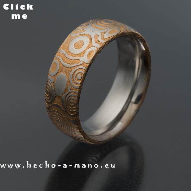 Damascus Steel Ring Aiolos Gold (click for Details)