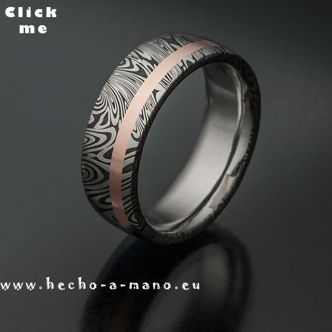 Damascus Steel Ring Themis + 18k Redgold Inlay (click for Details)