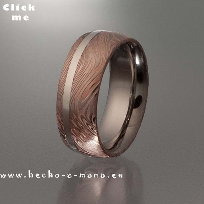 Damascus Steel Ring Rhea's Ring Redgold + Silver Inlay (click for Details)