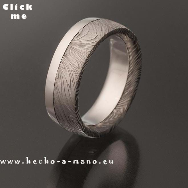 Damascus Steel Ring Rhea's Ring + Silver Liner (click for Details)