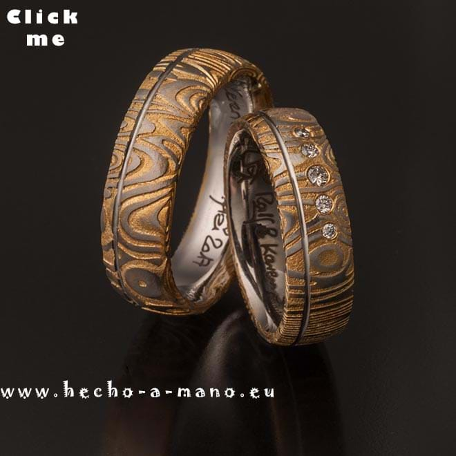 Damascus Steel Wedding Bands Aiolos Gold Groove + Diamonds (click for Details)