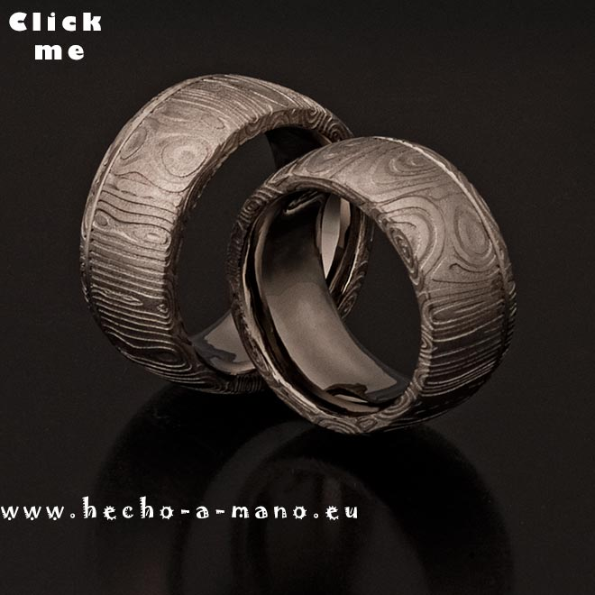 Damascus Steel Wedding Bands Aiolos + Groove (click for Details)