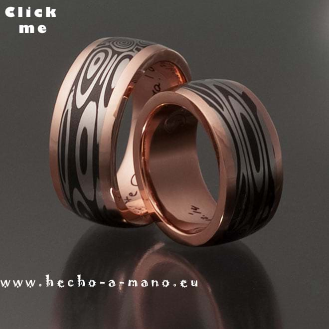 Damascus Steel Wedding bands Aphrodite's Hair + Redgold Channel (click for Details)