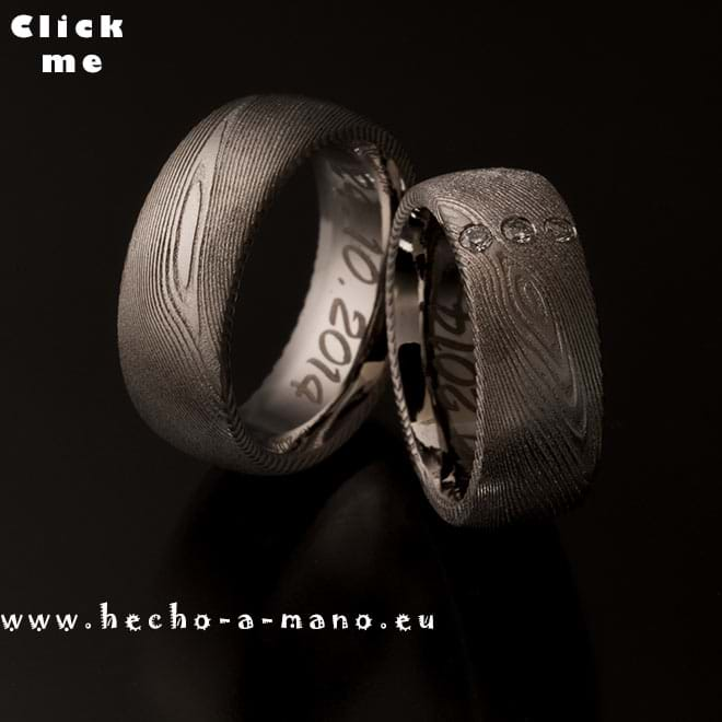 Damascus Steel Wedding bands Damia's Ring  + Diamonds (click for Details)