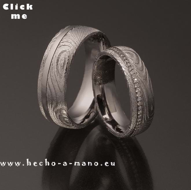 Damascus Steel Wedding Bands Damia's Ring + Palladium Inlay Diamonds (click for Details)