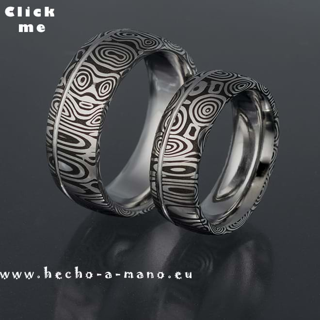 Damascus Steel Wedding bands Eos' Dawn + Groove (click for Details)