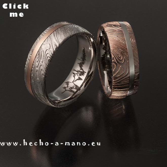 Damascus Steel Wedding Bands Rhea's Ring Redgold + Inlay (click for Details)