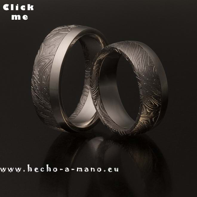 Damascus Steel Wedding Bands Rhea's Ring + Silver Liner (click for Details)