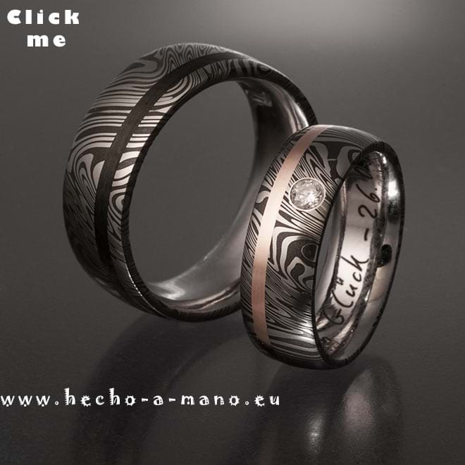 Damascus Steel Ring Themis + Redgold Inlay + Diamond (click for Details)