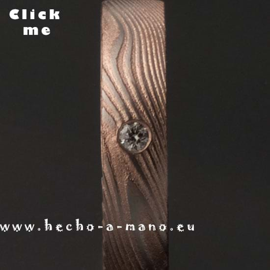 Damascus Steel Engagement Ring Damia's Ring Redgold + Diamond (click for Details)
