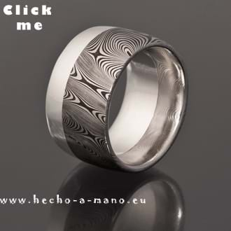 Damascus Steel Ring Uranos + Silver Liner (click for Details)