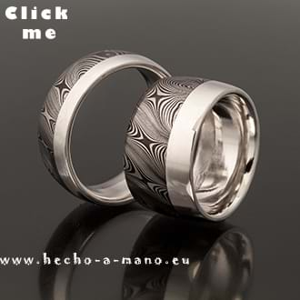 Damascus Steel Wedding Bands Uranos + Silver Liner (click for Details)