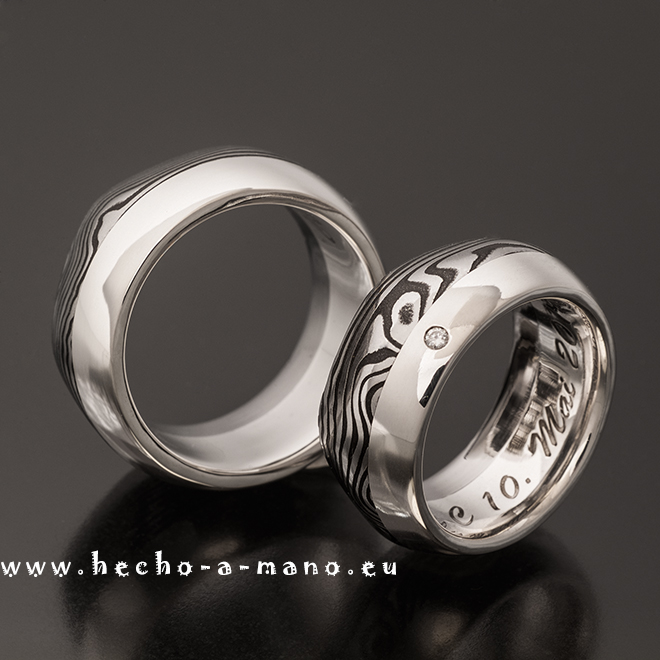 Damascus Steel Wedding Bands with Silver Liner and Diamond Thor