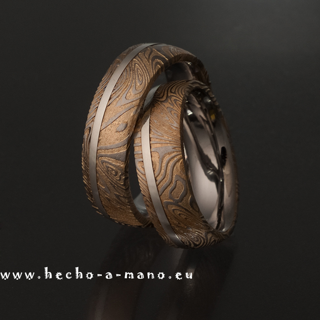 Damascus Steel Wedding Bands Rheas Ring Gold Silver Inlay